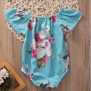 Other - Floral outfit for baby girl, blue flower onesie
